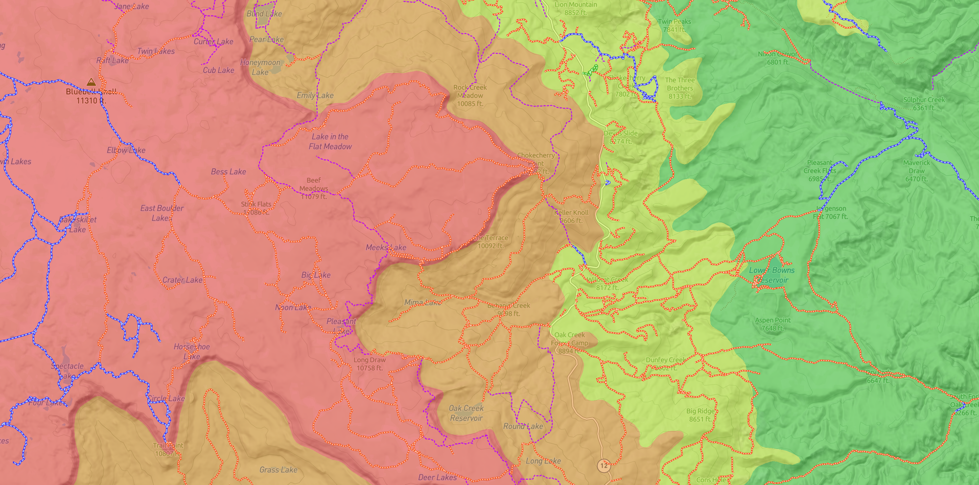 Scout To Hunt's Elevation Bands and UnPaved offline map layers