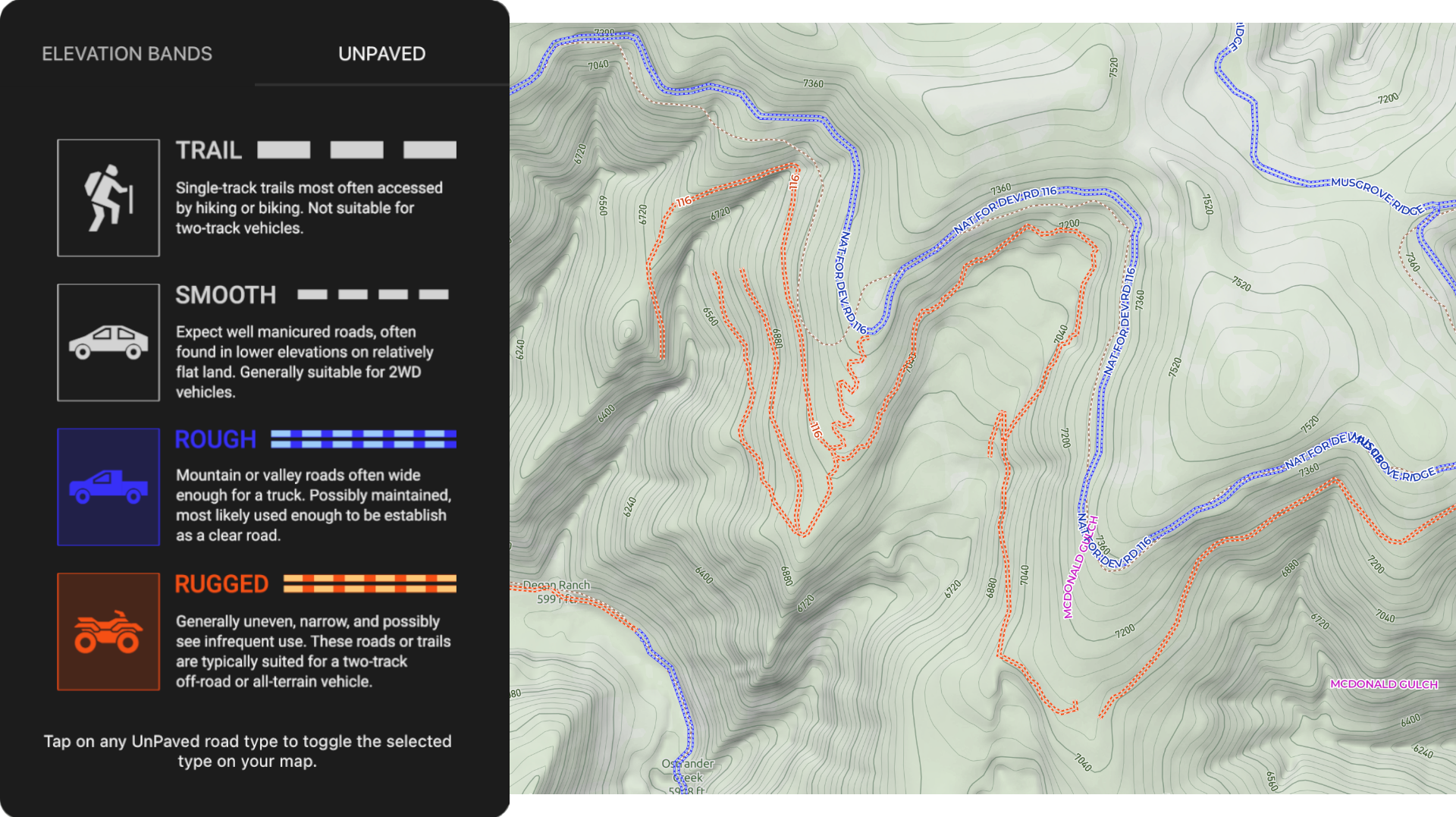 Scout To Hunt's UnPaved™ Offline Map Layer - Comprehensive Off-Roads & Trails